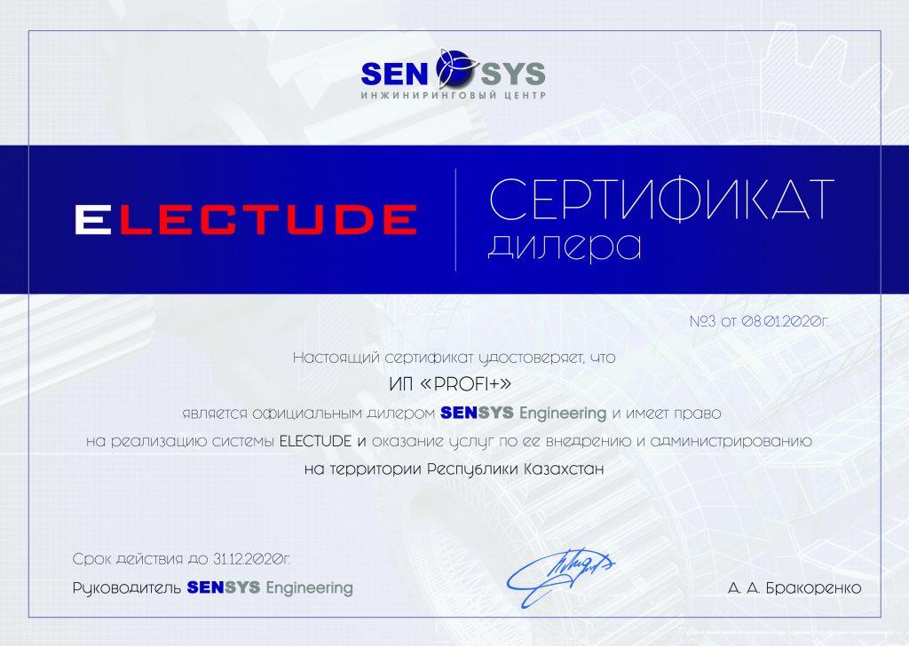 Сертификат дилера Electude Profi+